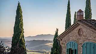 Panorama Sonnenuntergang Il Borgo - Hotel Toscana Resort Castelfalfi