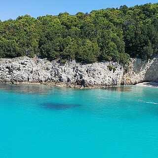 Blick auf die Blaue Lagune Sivota vor Korfu
