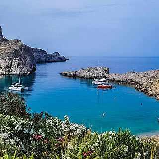 Bucht von Lindos aus Rhodos