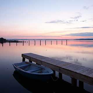 Wunderschönes Sonnenuntergang am Fleesensee